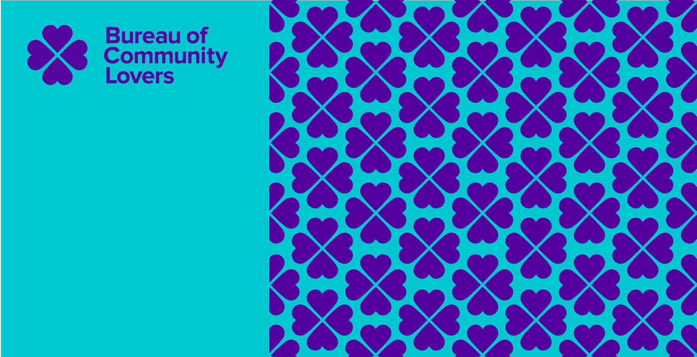 Bureau of Community Lovers logo with pattern next to it created from elements in the logo.