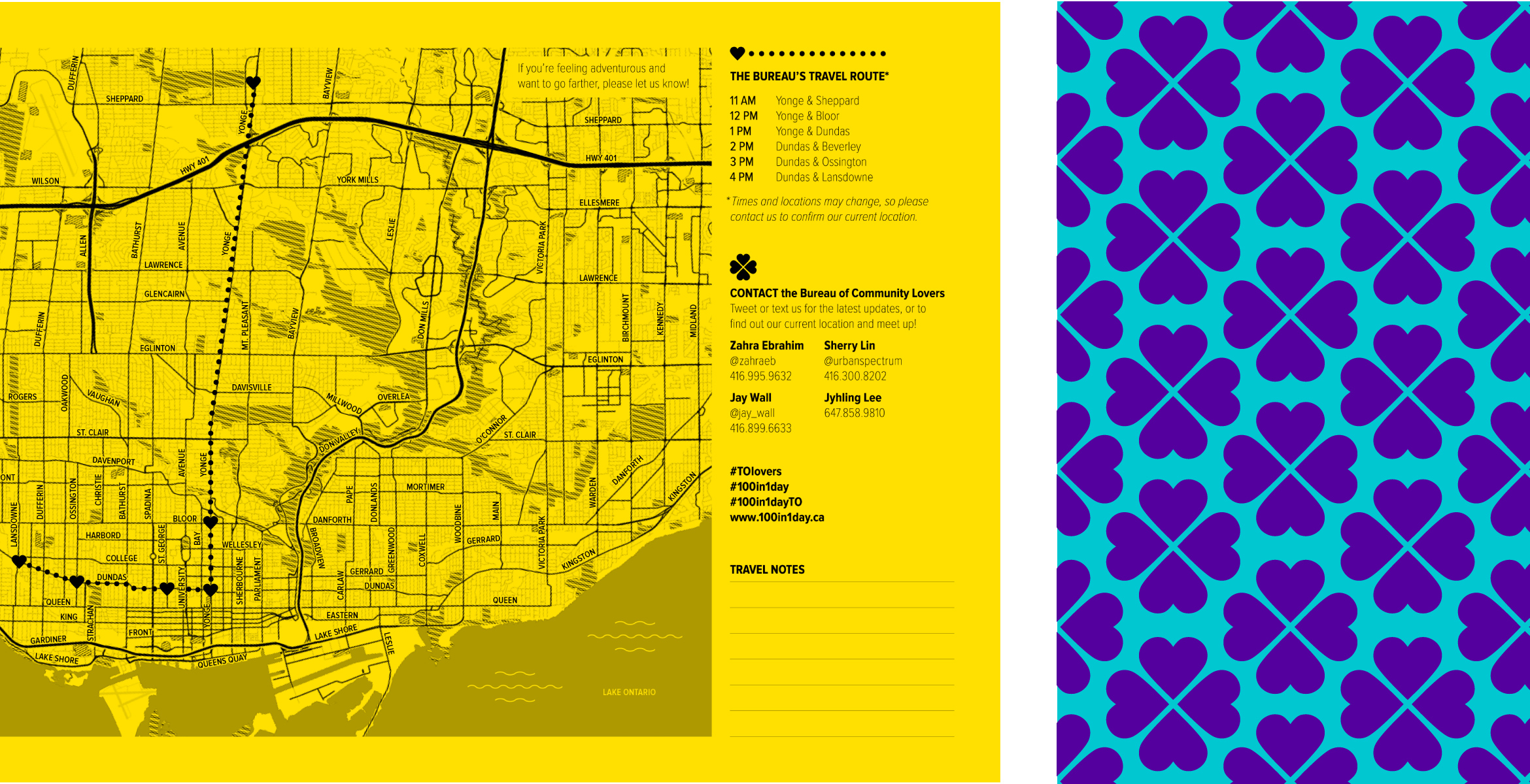 Bureau of Community Lovers map focused on travel routes within the City of Toronto. The order of the travel routes are Yonge and Sheppard, Yonge and Bloor, Yonge and Dundas, Dundas and Beverley, Dundas and Ossington, and Dundas and Landsdowne.