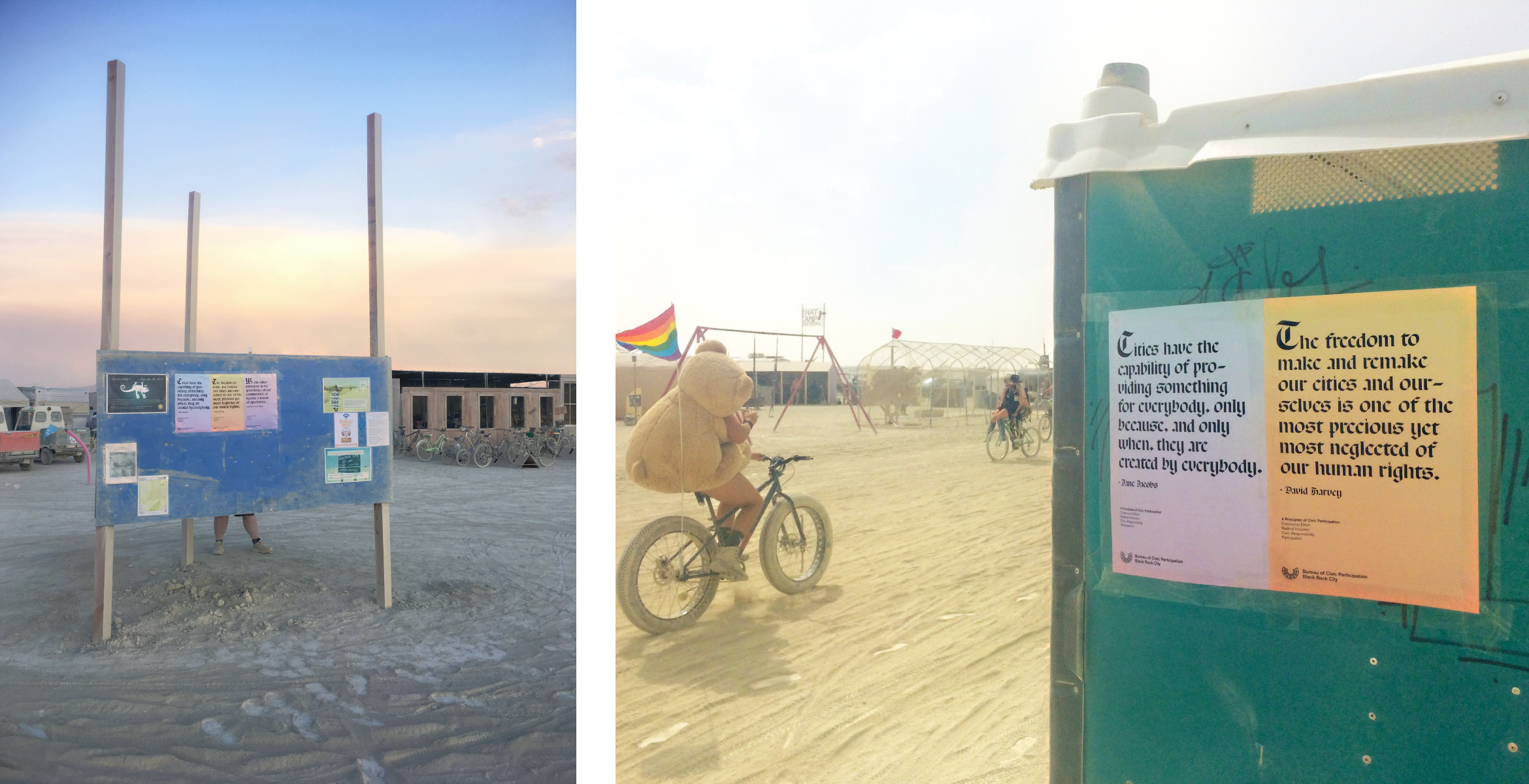 Posters made for the Burning Man festival are featured in various locations around Black Rock City.
