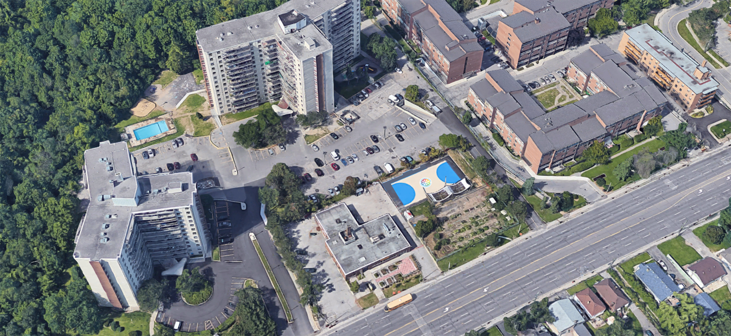 Painting progress shot of the East Scarborough Storefront Courts taken from Google Satellite.