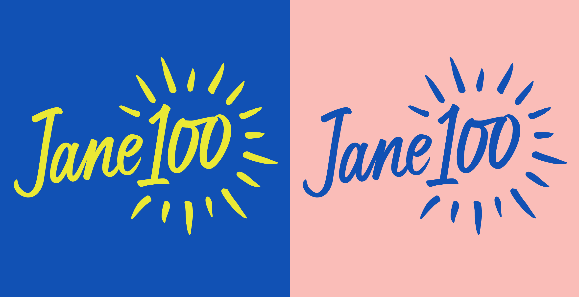 Two colour examples of the handdrawn Jane 100 logo.