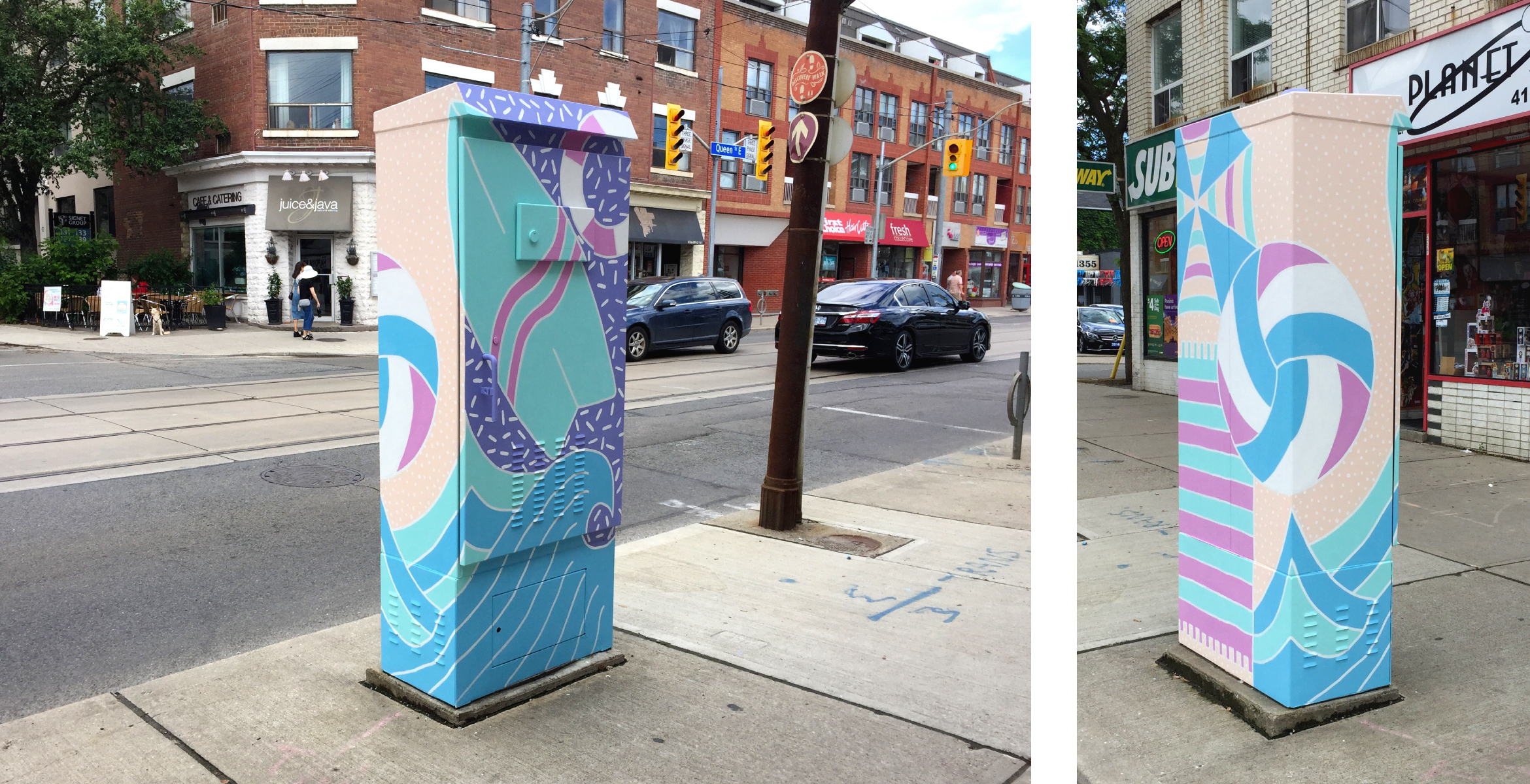 Southwest and Northwest view of the completed Outside the Box traffic signal box. Painting features beachside, waves, a volleyball, beach towel and umbrella, surfboard and life preserver. Colours used are tints of bright hues, giving a sun bleached look to the beach theme the painting making a connection to the neighbourhood.