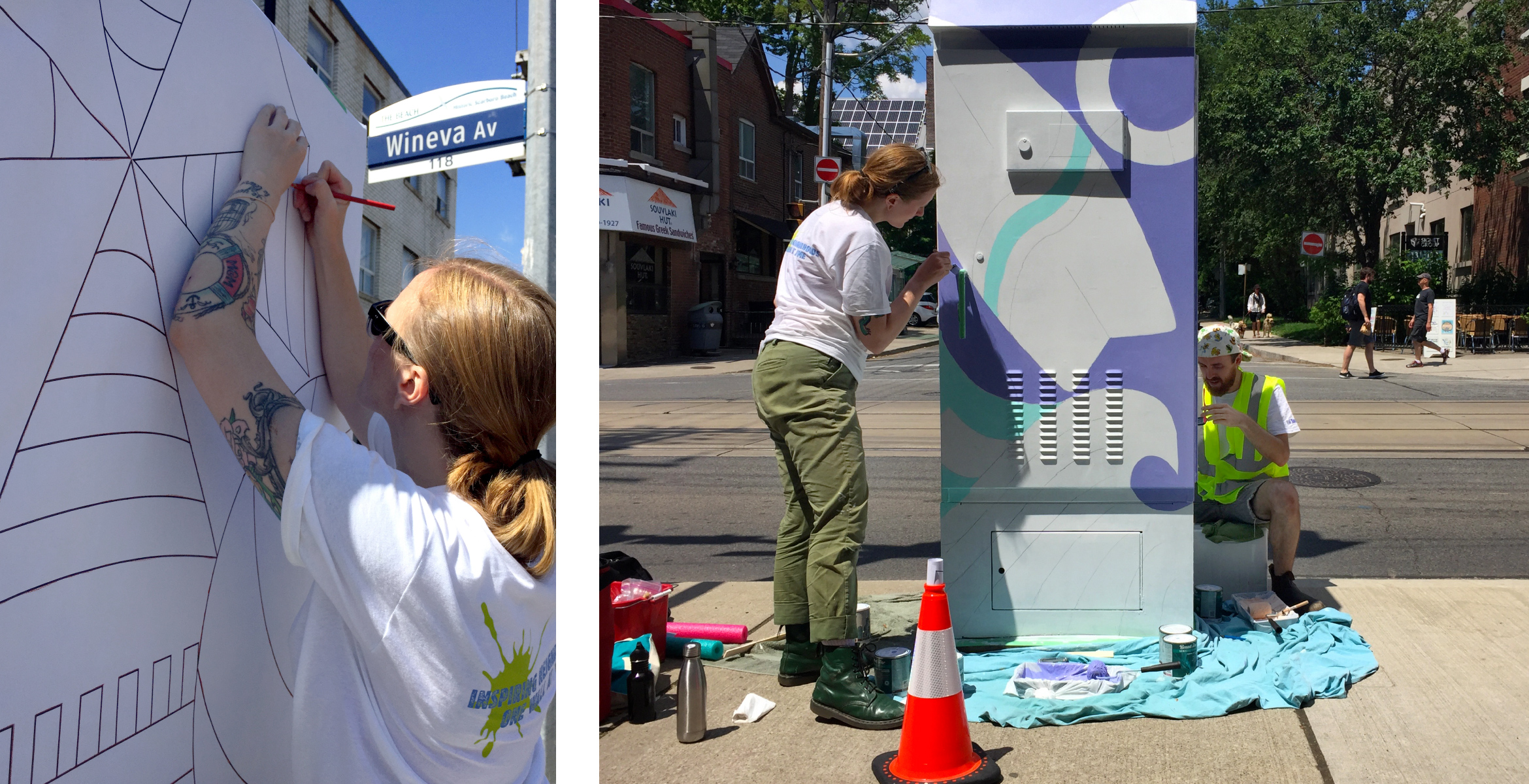 Progress shot of painting the traffic signal box by applying a stencil using paper and tracing to fill in with colour.