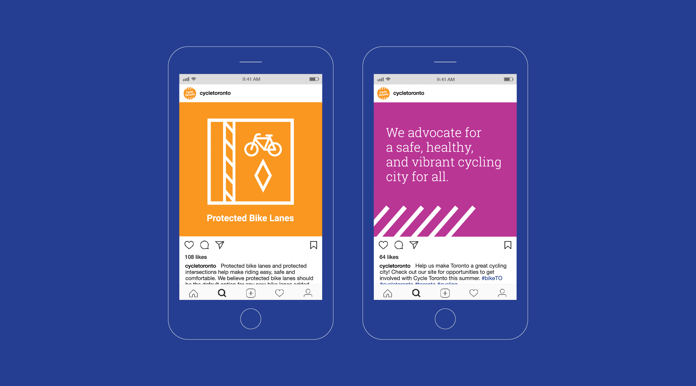 Two mobile phone screens each showing a different Instagram social media post that uses Cycle Toronto's brand elements with messaging.