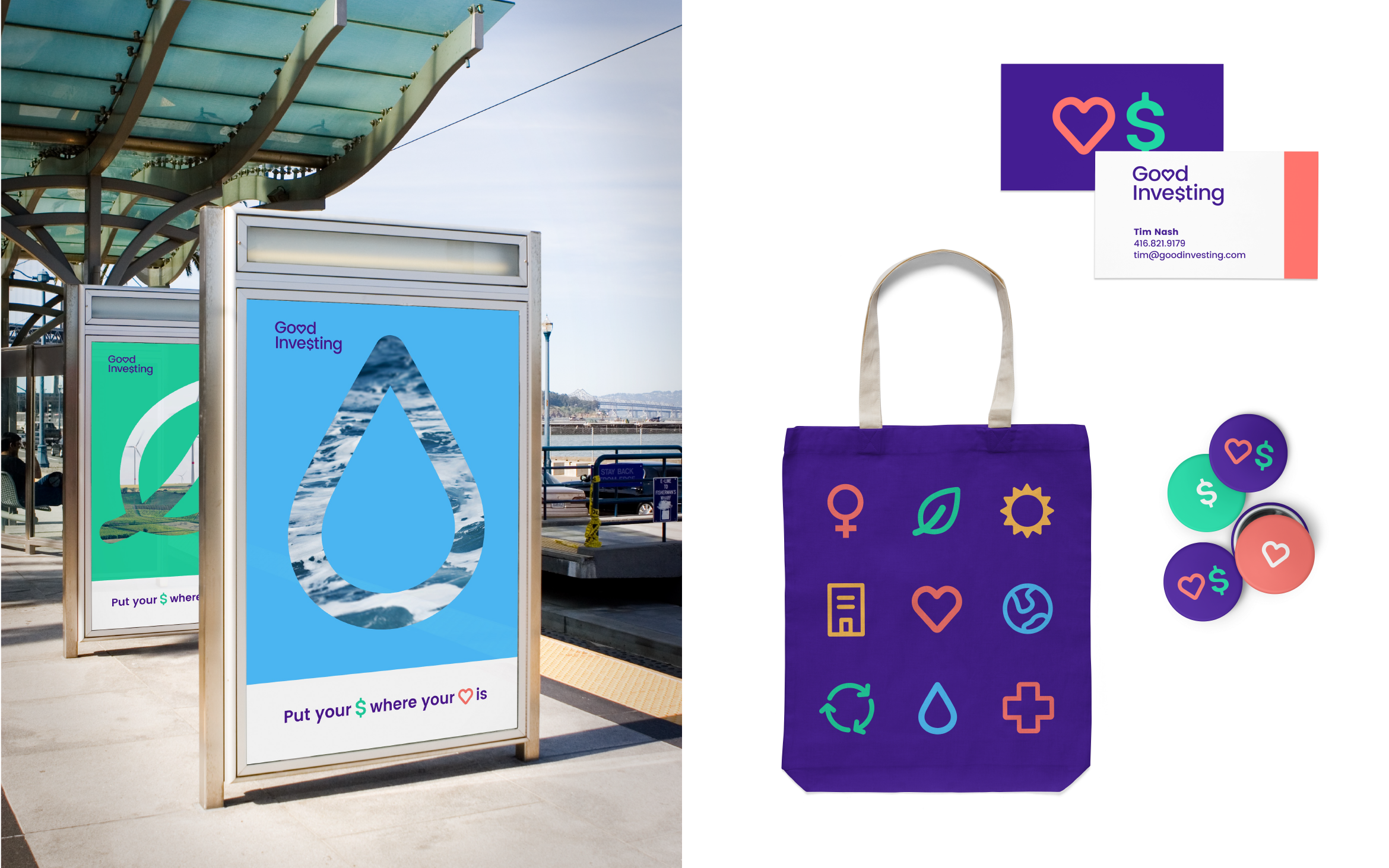Mockups of the Good Investing brand on a bus shelter, business card, tote bag, and buttons.