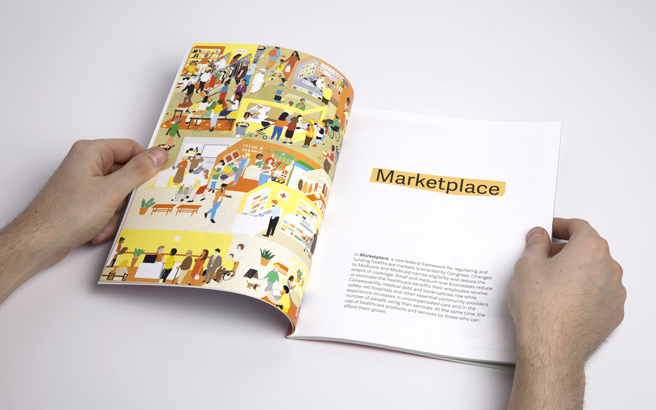 Open spread of page featuring the Marketplace illustration in the Health System Scenarios report