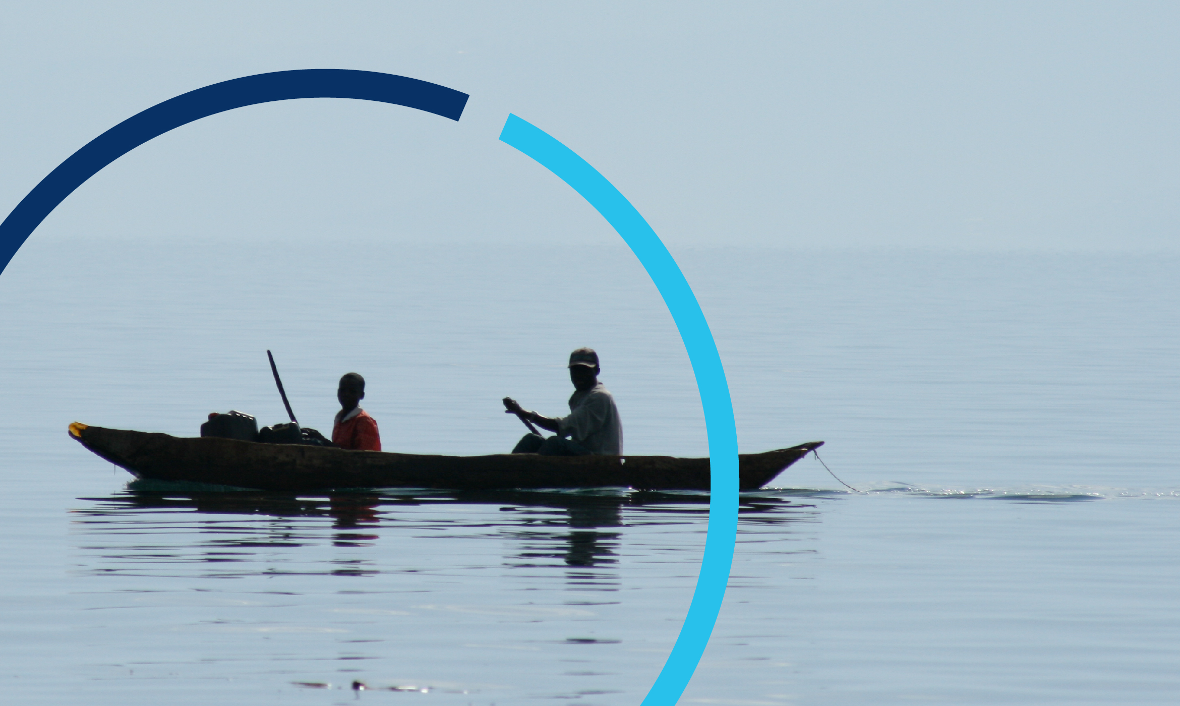 An example of IISD's image treatment. The logo mark is imposed over an image of two people canoeing.