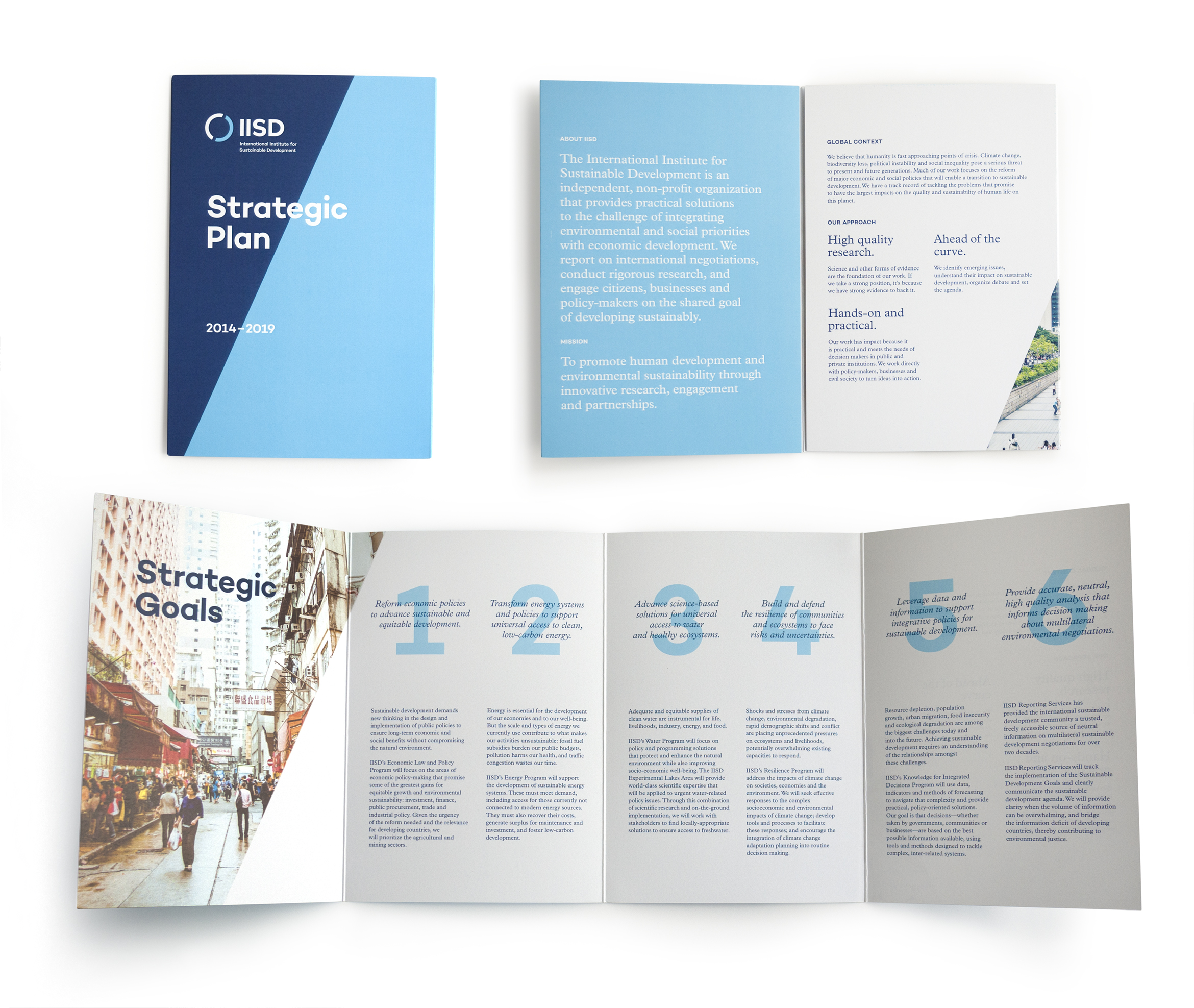 Collage image of the International Institute for Sustainable Development Strategic Plan brochure that shows the cover, first spread unfolded, and fully unfolded inside spread.