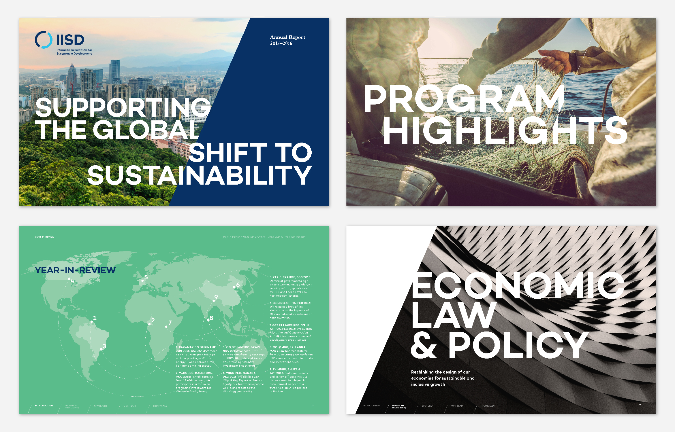 Multiple spreads of an Institute for Sustainable Development 2015 Annual Report that shows how the graphic system for the brand is used in layout with images and text.