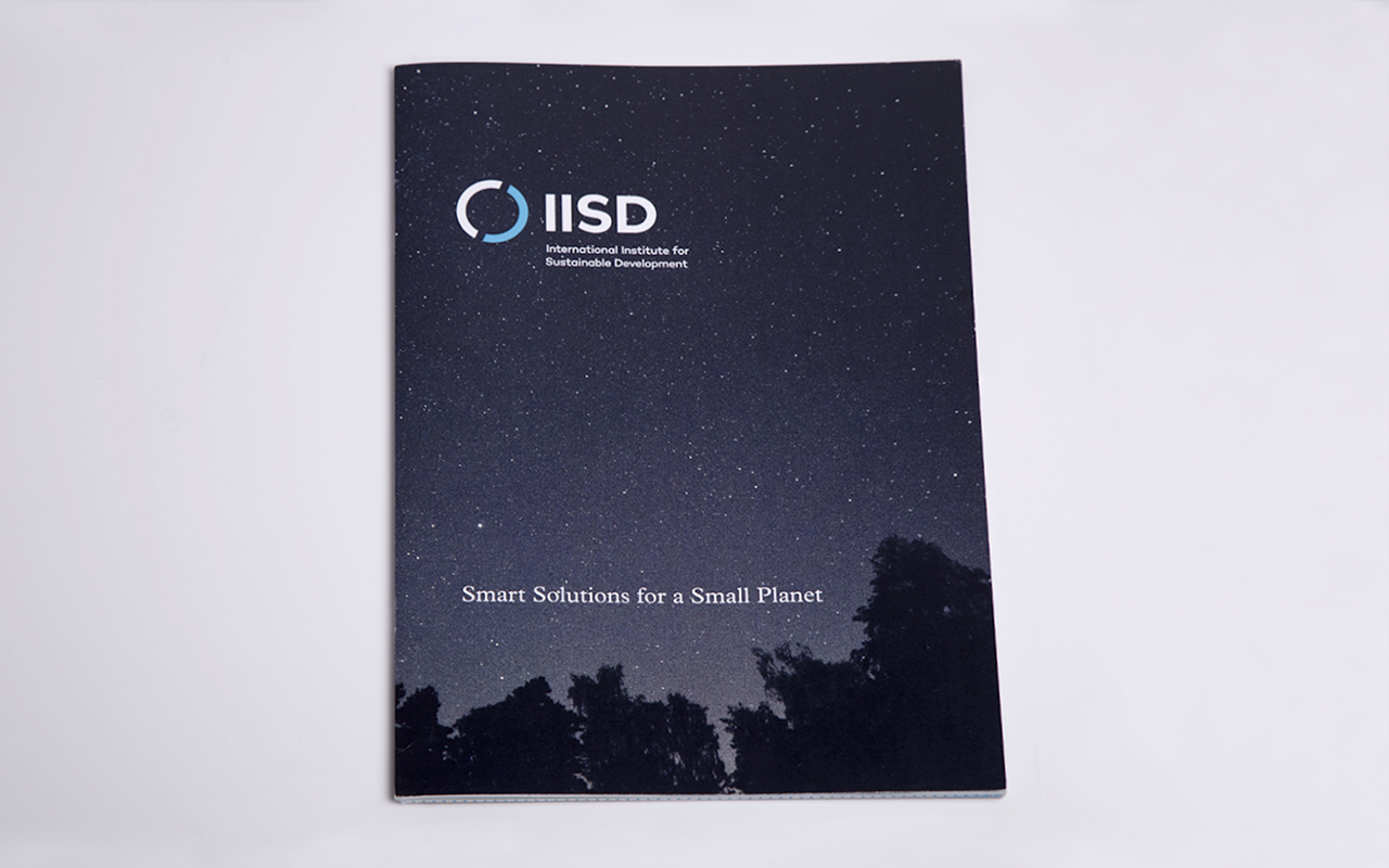 "International Institute for Sustainable Development annual report cover that includes tagline text that reads, ""Smart Solutions for a Small Planet""."
