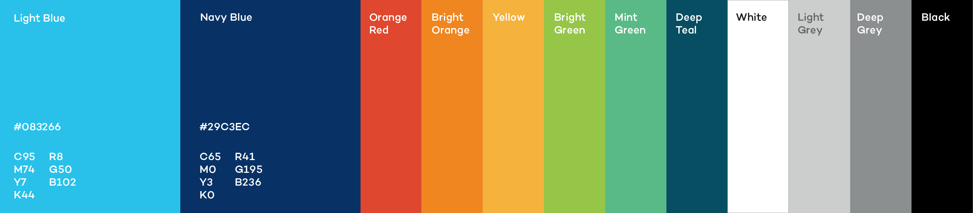 Colour swatches for IISD's brand identity. Each swatch contains the colour name along with the HEX code, RGB values and CMYK values.