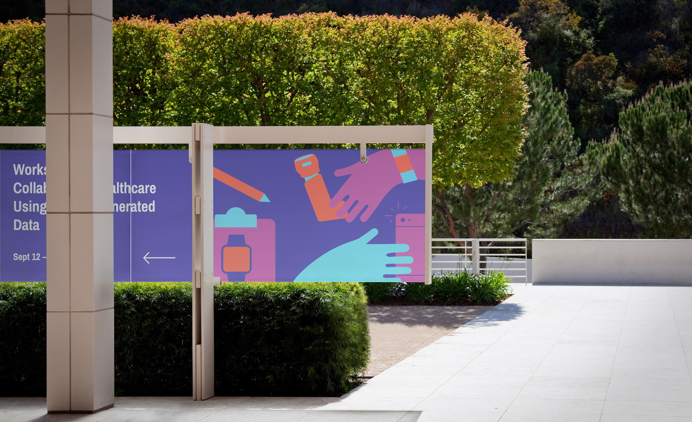Outdoor wayfinding for Patient-Generated Data workshop featuring illustrations of hands and different forms of technology used to measure data.