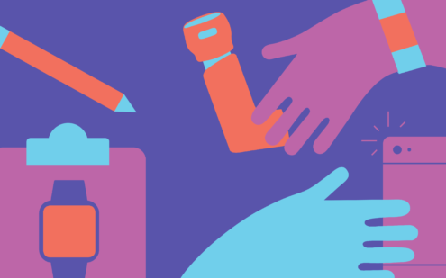 Illustration for patient generated data project. Featuring a playful composition of hands, a fitbit, an inhaler, an iPhone, a clip board and pen.
