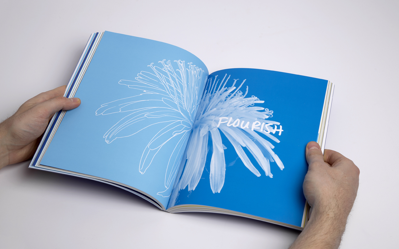 Book spread for Social Innovation Generation showing a dandelion blooming, a section titled flourish