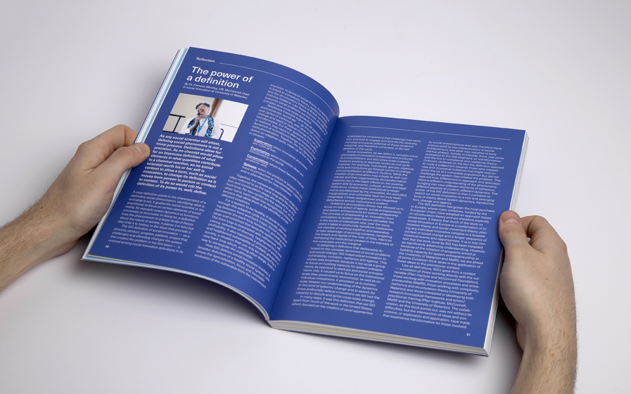 Book spread for Social Innovation Generation showing an interview and reflection page
