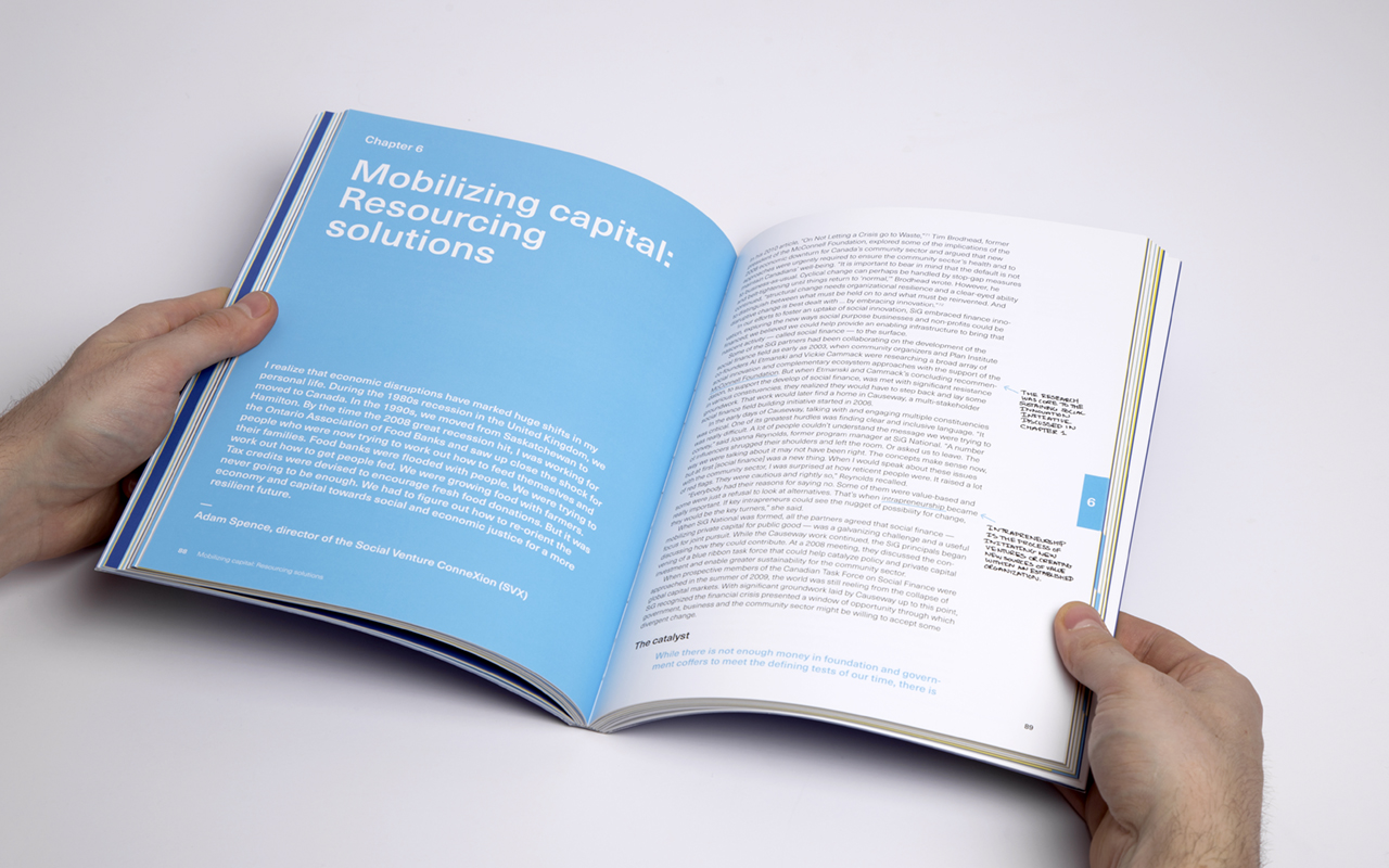 Book spread for Social Innovation Generation showing a full blue colour page chapter divider