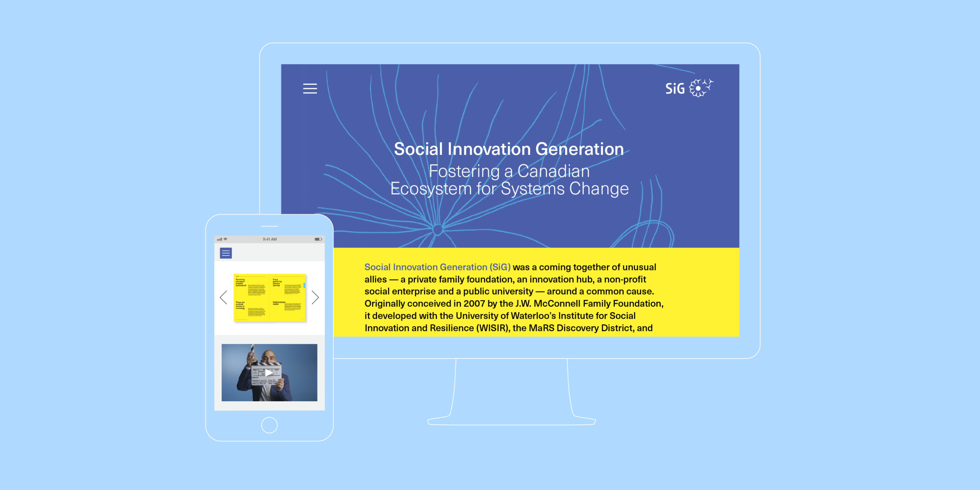 The Social Innovation Generation website featured on a desktop computer and an iPhone.