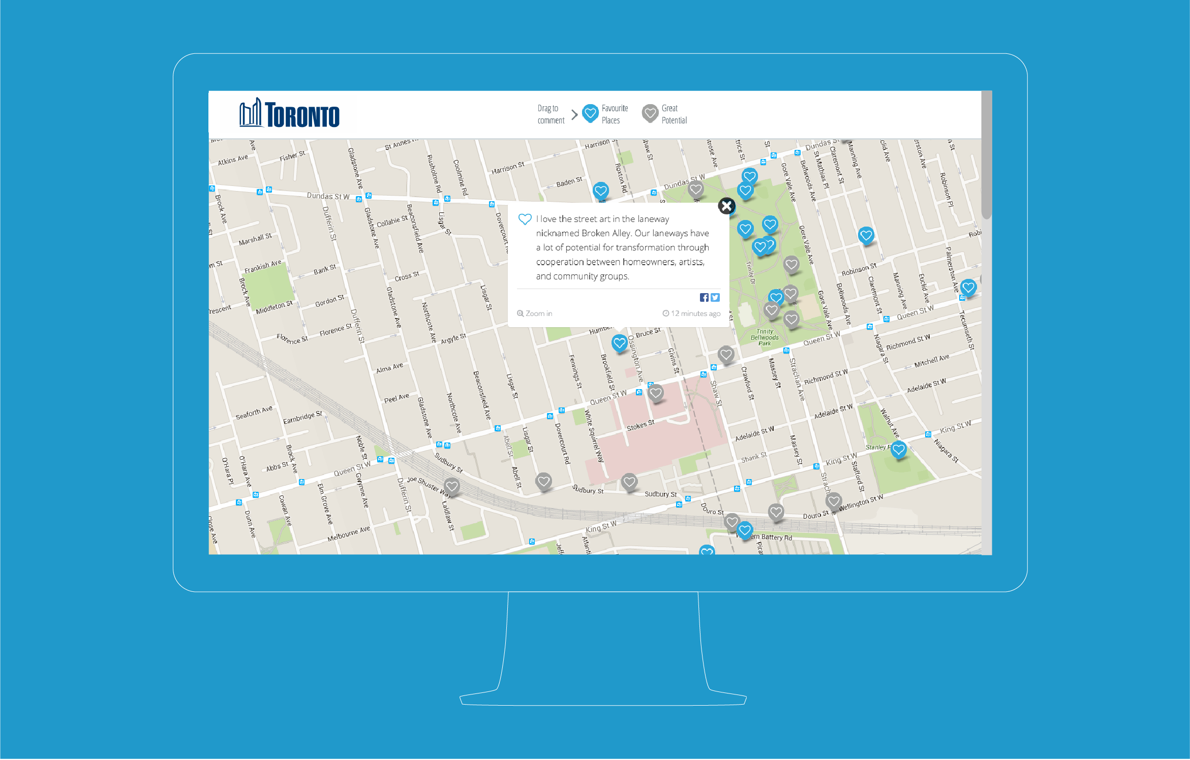 Screenshot of live consultation comment input mapping overlaid with the map of Toronto with comments pinned to specific locations.