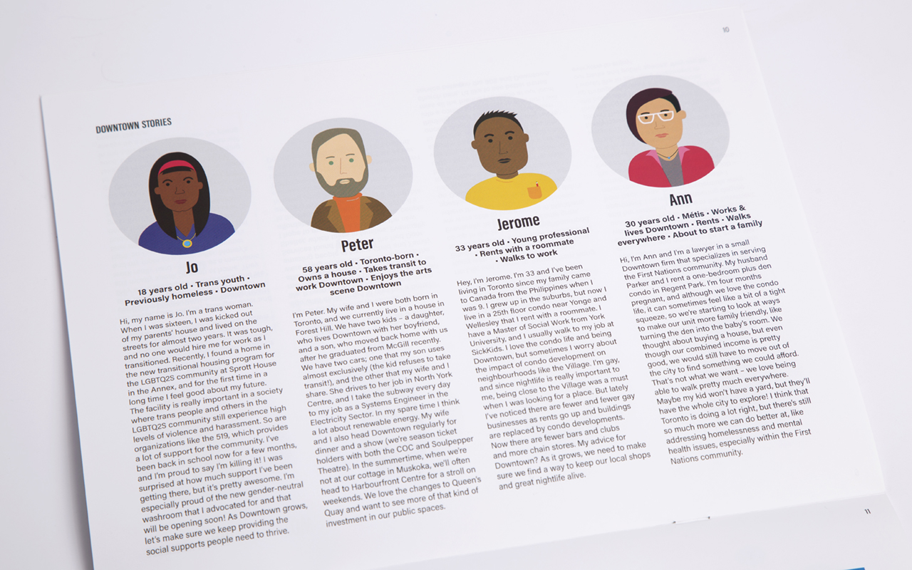 Close-up of a page in the Community Engagement Toolkit featuring four downtown stories.