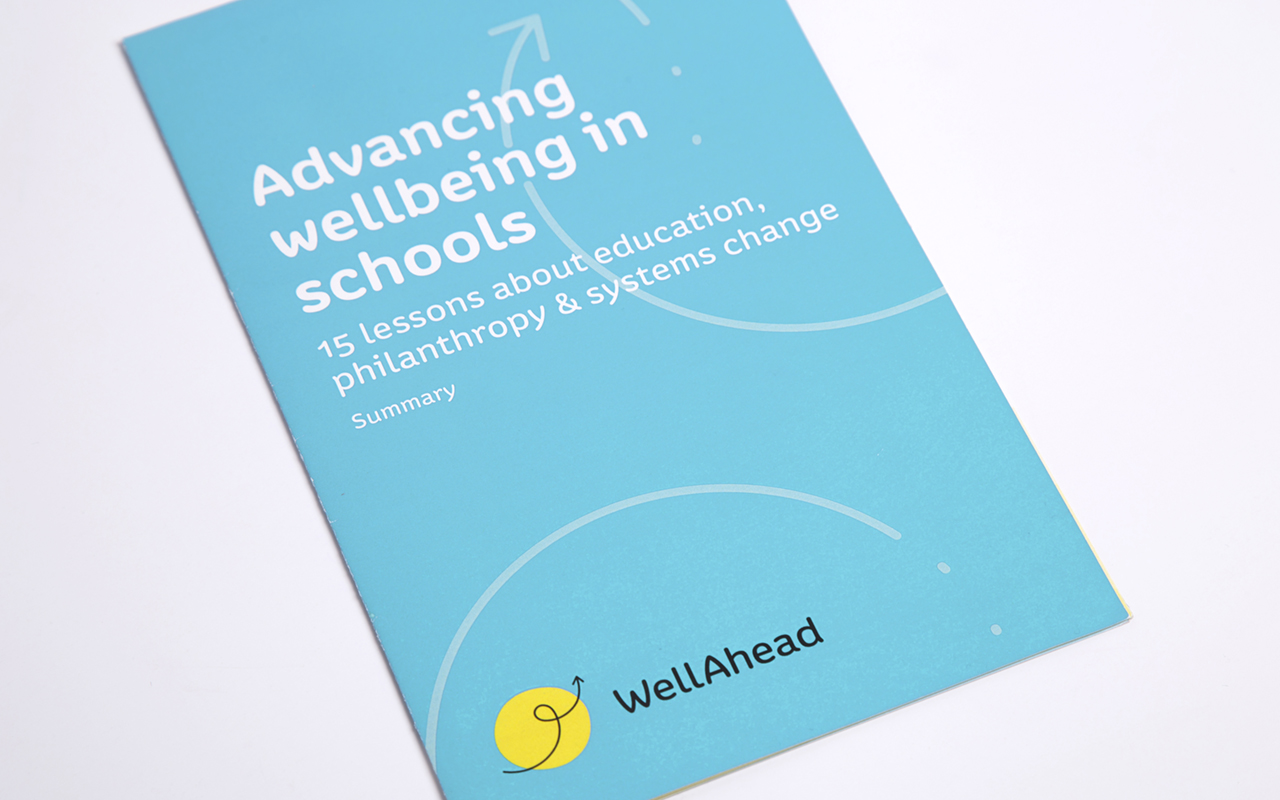 Cover of WellAhead summary report with 15 lessons about education, philanthropy & systems change.