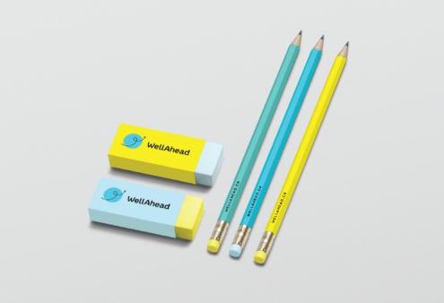 WellAhead logo on pencils and erasers mockup.