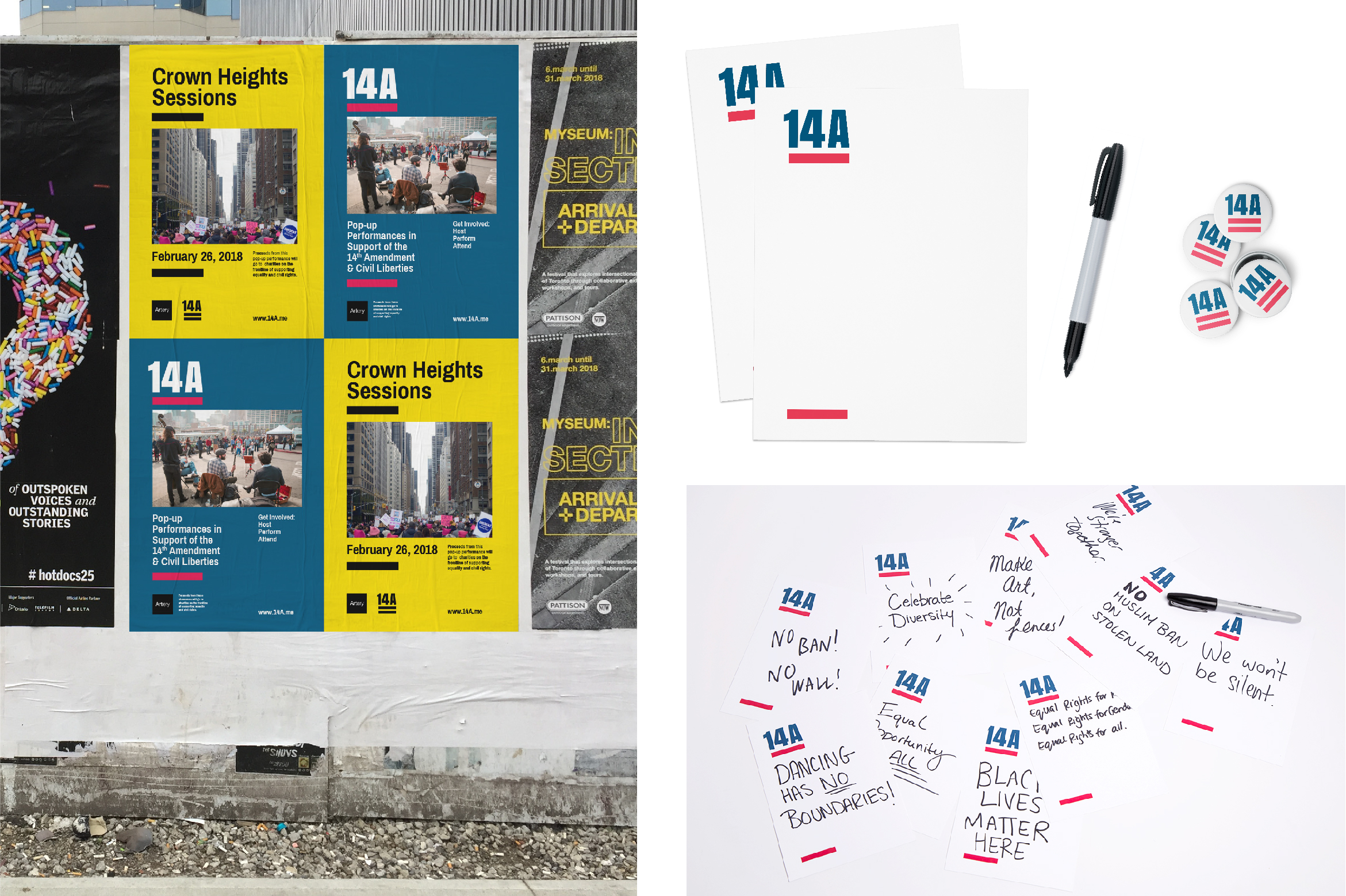 Set of various applications for the 14A campaign including pins, posters on hoarding, and flyers.