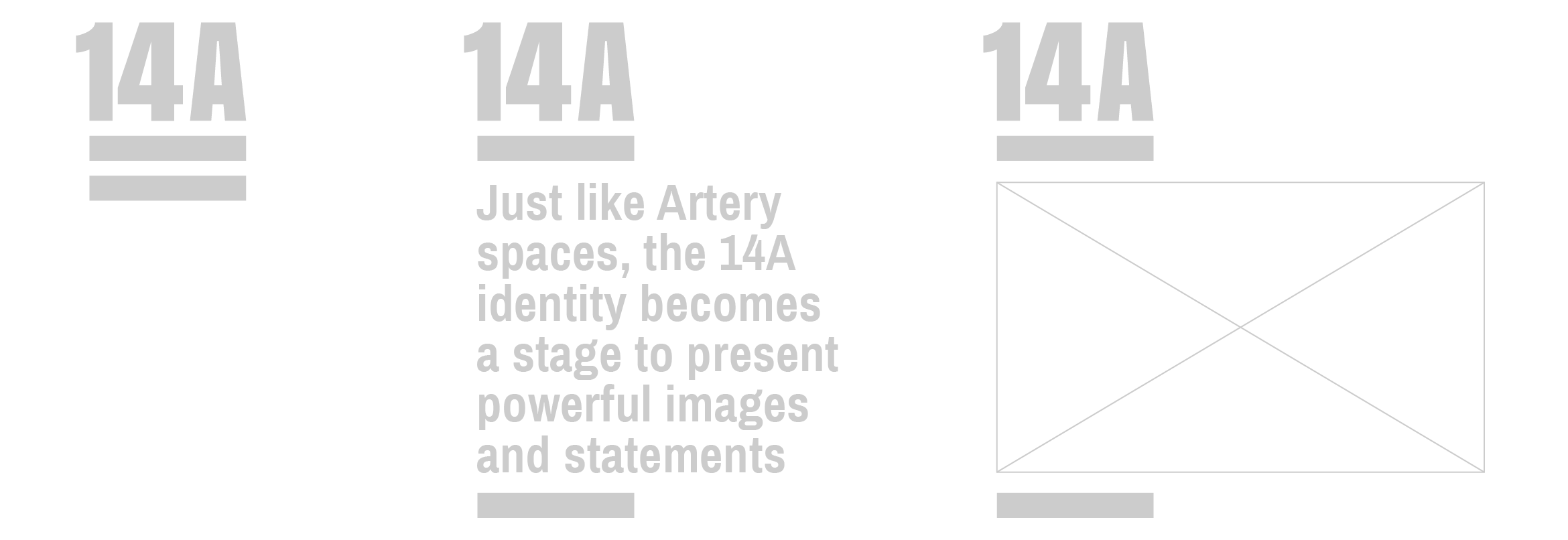 Graphic that shows how the 14A campaign logo is dynamic in that the equal sign that falls under 14A opens to create a space or a stage or simple quotes and images.