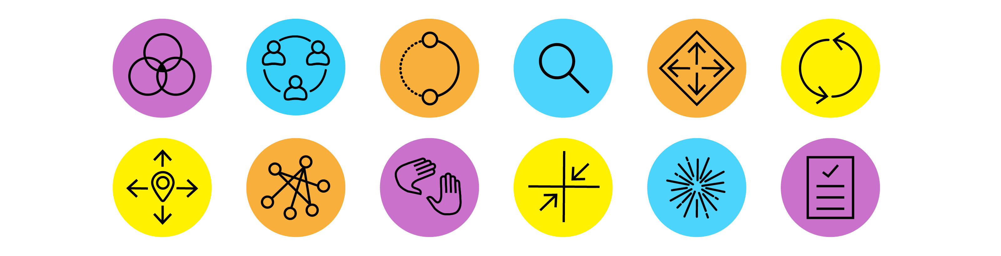 Icons created for the Emergency Aid Lab. The images represent different aspects of the lab and are used through the collaborative workshop environment.