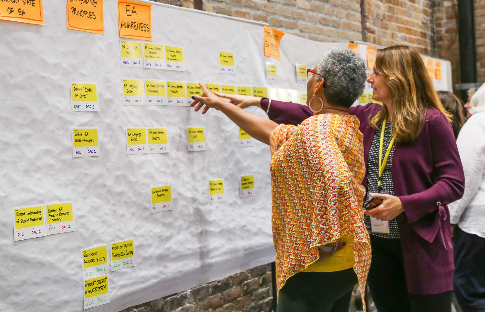 Photo of two Emergency Aid Lab workshop attendees pointing at comments posted to the wall on a workshop sheet.
