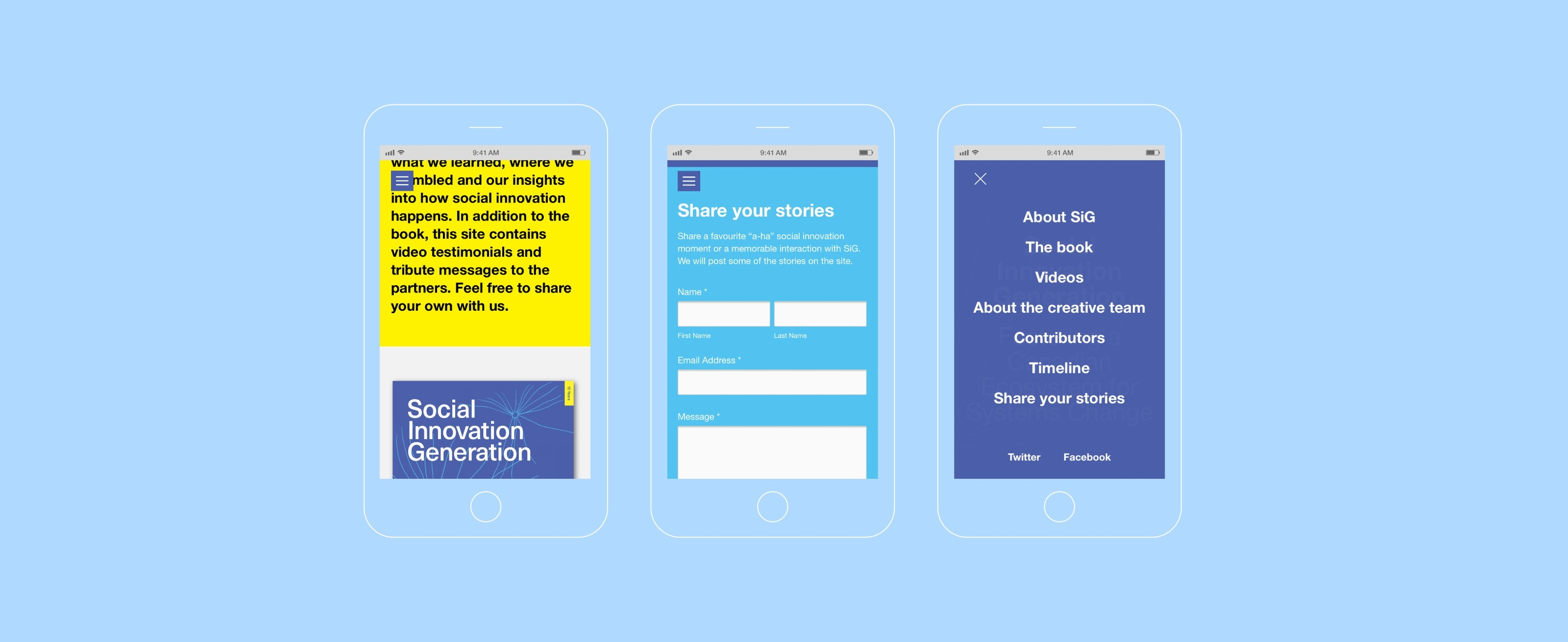 The Social Innovation Generation website that accompanies the book featured on three iPhones. A order the book screen, a share your stories screen and a menu screen.