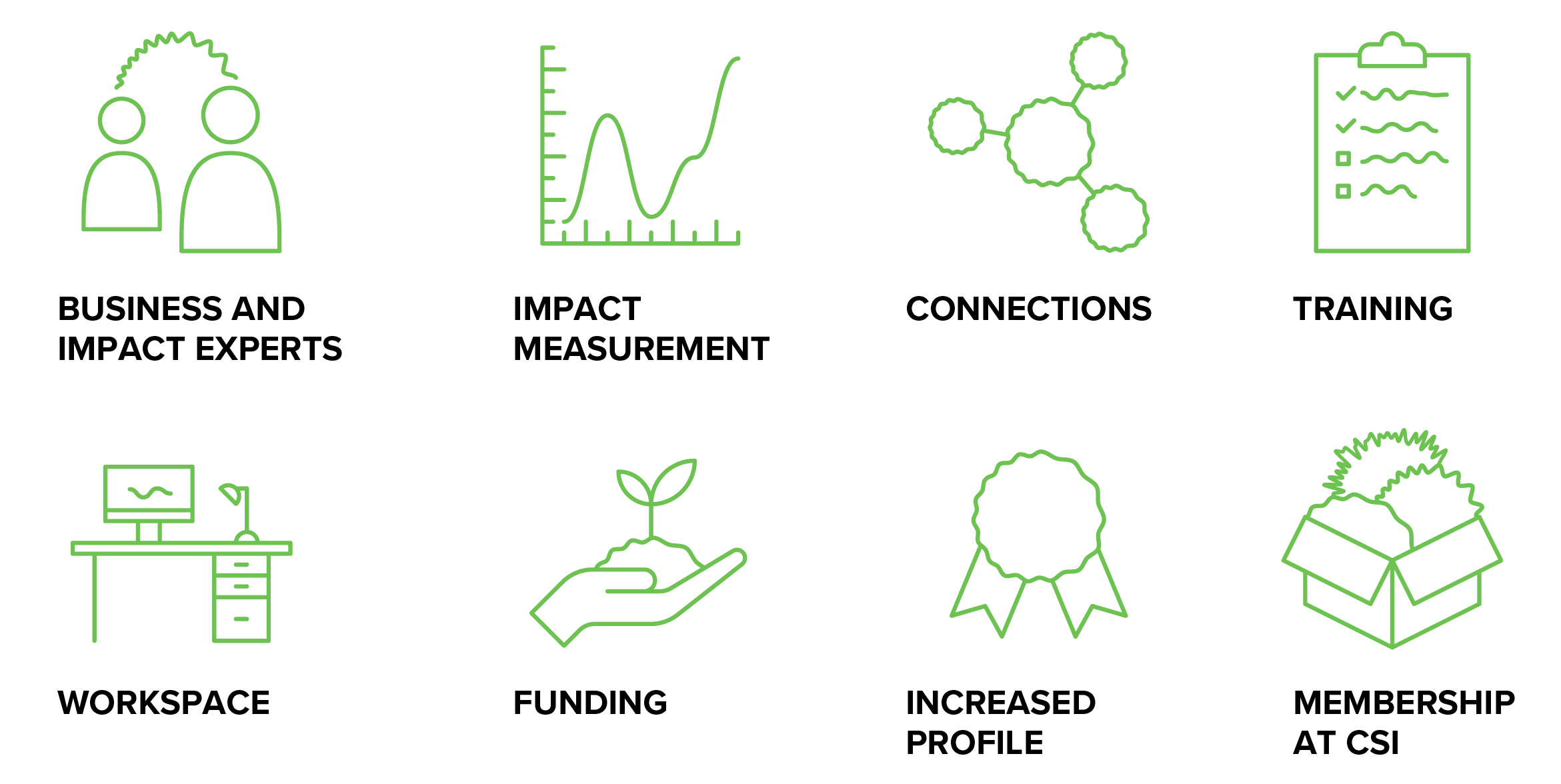Climate Ventures program support icons for business and impact experts, impact measurement, connections, training, workspace, funding, increased profile, and membership at CSI