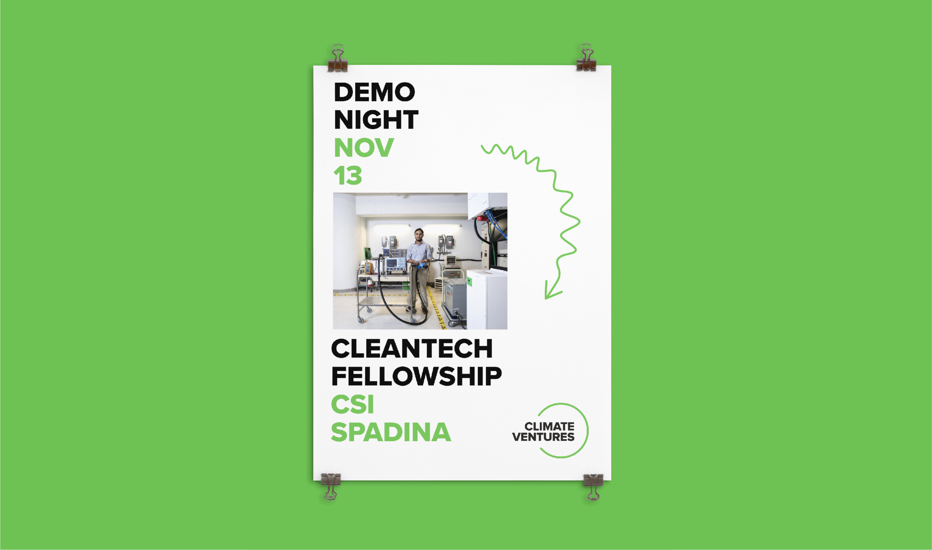 Sample poster or flyer promoting a Climate Ventures Demo Night event for Cleantech Fellowship.